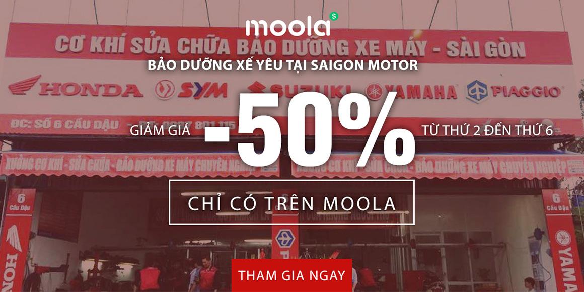 Bảo dưỡng xế yêu tại Saigon Motor giảm giá 50% chỉ có trên Moola. Tham gia ngay